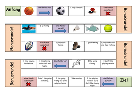 Board game to revise sports, hobbies and 'gern'.