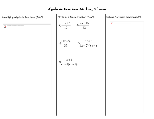 Algebraic Fractions by Neon2 Teaching Resources TES – Algebraic Fractions Worksheet