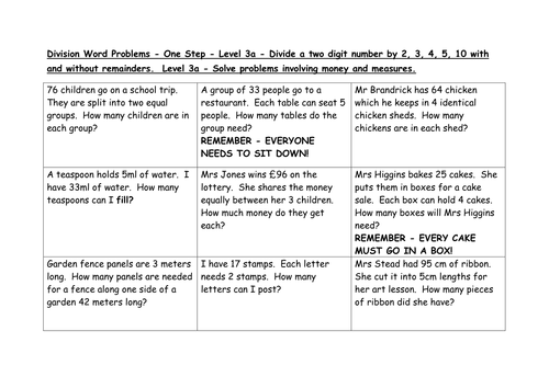 Division word problems Levels 3a, 4c, 4b by EmmaStead - Teaching ...