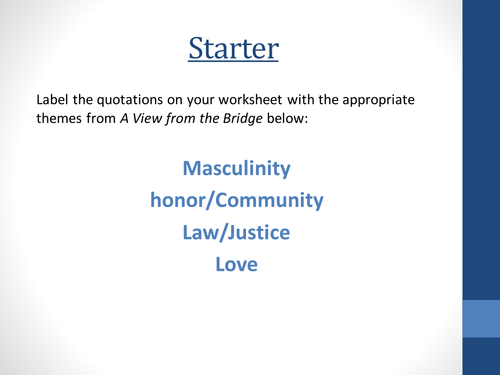 a view from the bridge theme of love A view from the bridge study guide contains a biography of author arthur miller, literature essays, 100 quiz questions, major themes, characters, and a.
