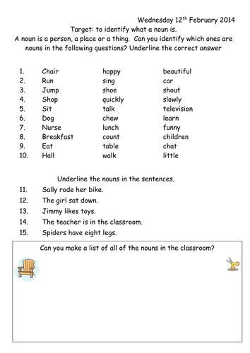 Noun Worksheet Year 1 Teaching Resources