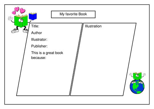 My favourite book review template by e2rrich Teaching – Book Review Worksheet