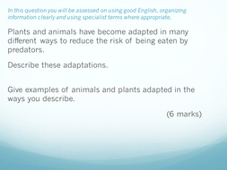 Layered Writing for B1 6 mark Questions