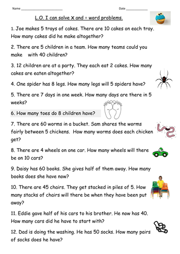 Multiplication Division Word Problems For Year 2 Teaching Resources