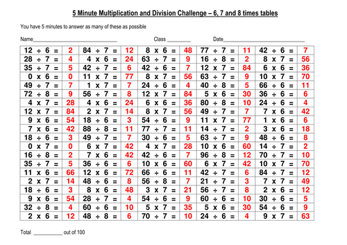 100 question multiplication and division challenge 4 by – Multiplication Challenge Worksheet
