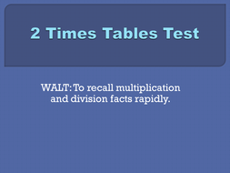 Timed tables tests, Set 2a