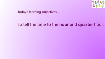KS1 Telling the time to half and quarter hour