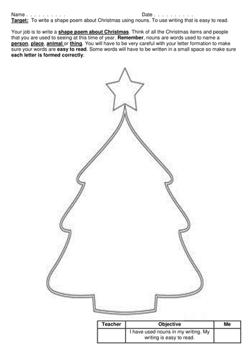 Christmas Shape Poems by joelroutledge  Teaching Resources  Tes