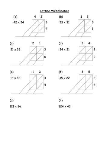 Lattice (Chinese) & Napier's Bones Multiplication by ...