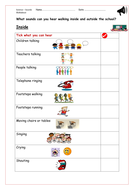 Science: Listen for Sounds Around the School Trek - Tick Sheet with and without Pictures