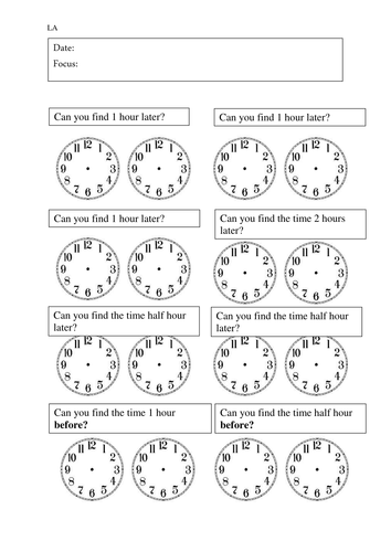 Time Worksheets time worksheets one hour later : Year 3 - Time intervals worksheets by rdhillon1987 - Teaching ...