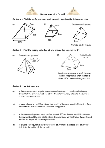 Surface Area Of Pyramids And Cones By Owen134866 Teaching