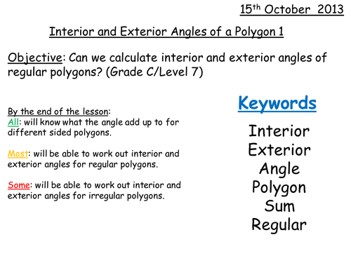 Interior Exterior Angles Polygons Grade C Level 7 By Whidds Teaching Resources Tes