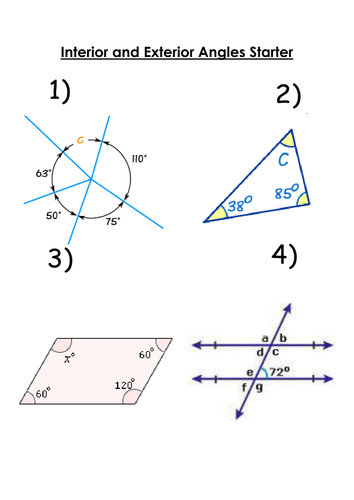Interior exterior angles polygons grade c level 7 by whidds teaching resources tes for Polygons exterior and interior angles
