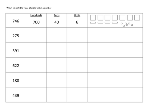 Partitioning 3 digit numbers by Claireyx Teaching Resources TES – Maths Partitioning Worksheets