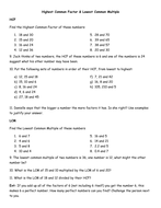 HCF and LCM worksheet - including 3 numbers