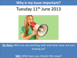Why is my issue important: evidence for CA GCSE