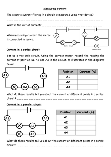 Electrical Circuit Worksheets - Rcnschool