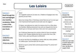 French: Free-time - Reading Worksheets
