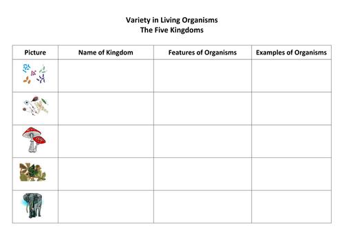 Variety of Living Organisms by ClaraJean Teaching Resources Tes – Table 1 Kingdom Worksheet