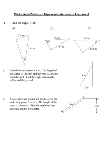 Trigonometry - Missing Angles Grade B Level 8 by whidds - Teaching ...