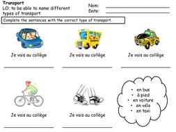 Transport worksheet (French)
