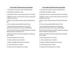 Causes of WW1 true or false