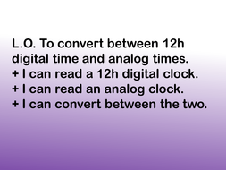 Converting between 12h digital and analog