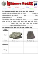 Igneous Rocks Worksheet