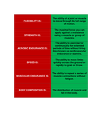 Components of Physical Fitness cards