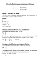 Help with Fractions, Decimals and Percentages
