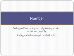 Adding subtracting Level 3, 4 written methods