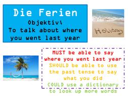 GCSE German - Holidays