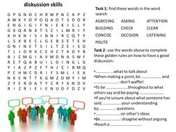 Discussions wordsearch and cloze exercise