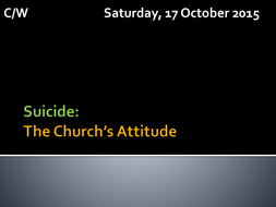 Suicide & The Christian Church