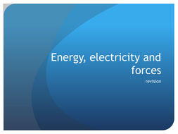 Energy, Electricity and forces
