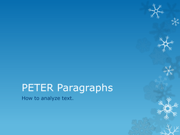 PETER Paragraphs; how to analyze text.