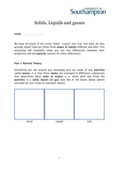 Particle theory hands on worksheet for Chemistry