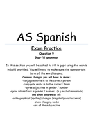 AS Spanish Exam Paper Question 9 Grammar Section