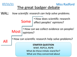 Surveys & Questionnaires (Badger debate) - Year 8
