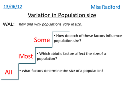1.3 Variation in population size AQA A2 Biology