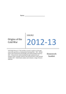 Origins of the Cold War Termly Homework Booklet