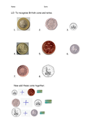 Recognizing and adding coins
