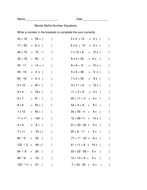Mental Math-Number Equations