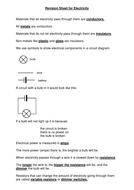 Electricity revision sheet