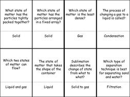 States of Matter Quiz Quiz Trade