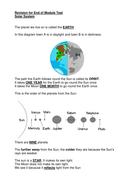 solar system revision sheet
