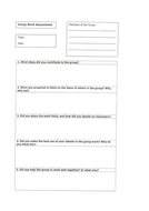 Group work evaluation sheet