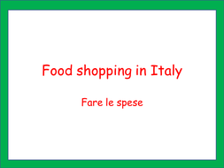 Food shopping in Italy