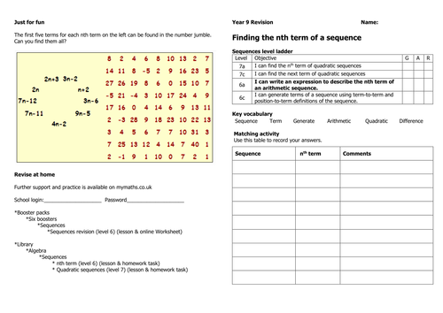 Sequences Revision by dj2010 Teaching Resources TES – Sequences Worksheet